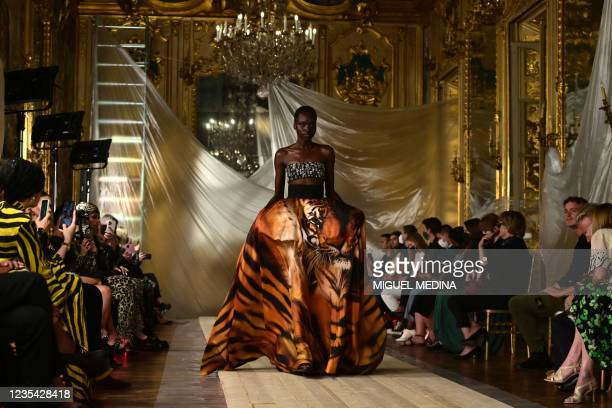 Model wears a creation for Roberto Cavalli's Women's Spring-Summer 2022 collection presented during the Fashion Week in Milan on September 22, 2021.