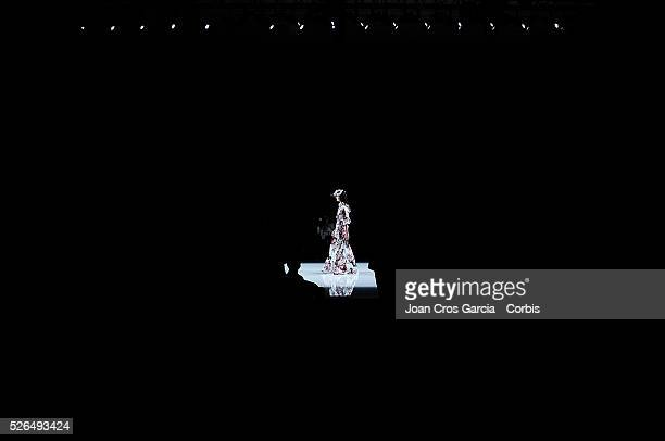 A model wears a creation from Matilde Cano during Barcelona Bridal fashion week April 28 2016 in Barcelona Spain nn
