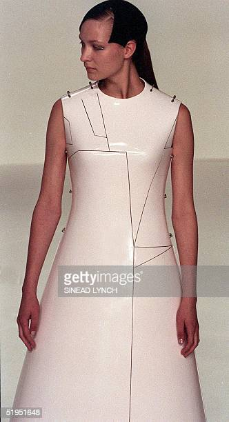 A model wears a creation from the Spring/Summer 2000 collection by Hussein Chalayan during the fourth day of London fashion week 23 September 1999