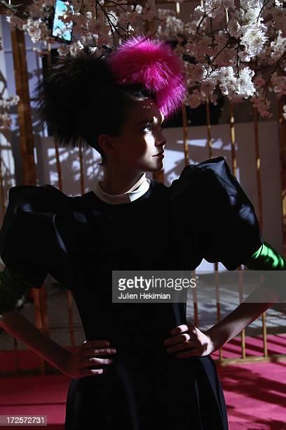 A model wears a creation named Sainte Nitouche by Christian Lacroix for Elsa Schiaparelli at Musee Des Arts Decoratifs as part of Paris Fashion Week...