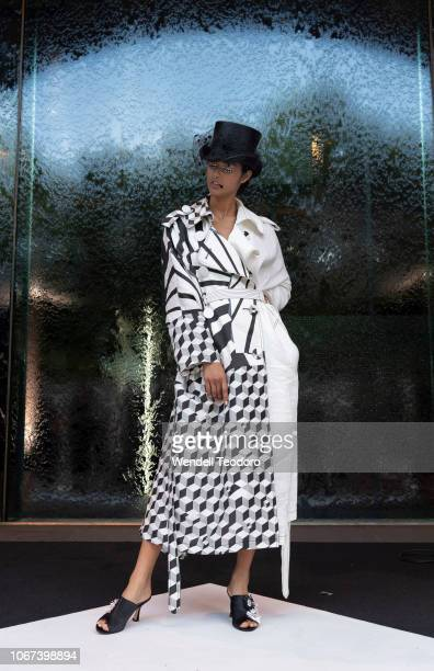 A model wears a design by Aje at the NGV Gala 2018 at National Gallery of Victoria on December 1 2018 in Melbourne Australia