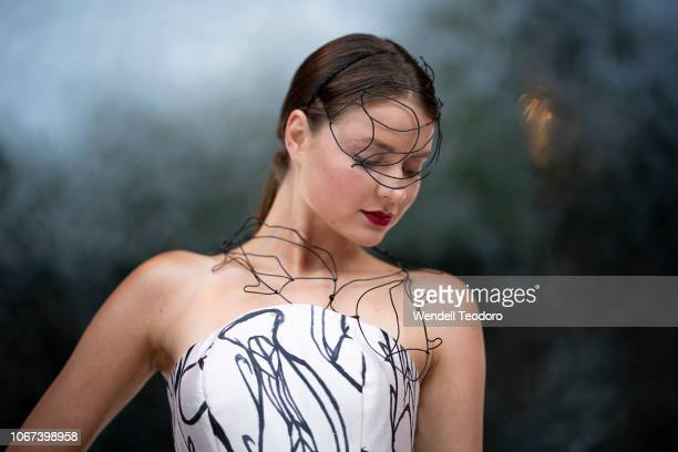A model wears a design by LynAl Young and Marc at the NGV Gala 2018 at National Gallery of Victoria on December 1 2018 in Melbourne Australia