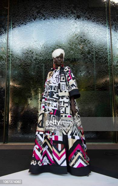 A model wears a design from Romance Was Born at the NGV Gala 2018 at National Gallery of Victoria on December 1 2018 in Melbourne Australia