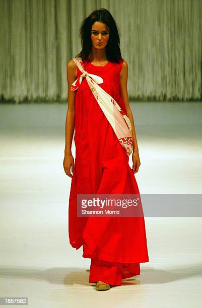 A model wears a design from the Akira collection during the L'Oreal Melbourne Fashion Festival at the Regent Plaza Ballroom on March 18 2003 in...