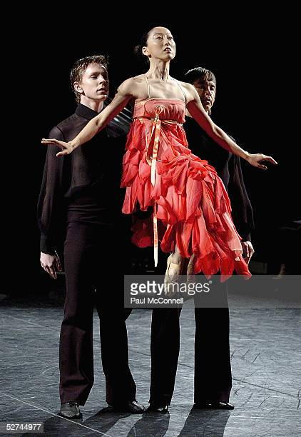 A model wears a dress by designer Akira at Sydney Dance Company during the Mercedes Australian Fashion Week May 2 2005 in Sydney Australia