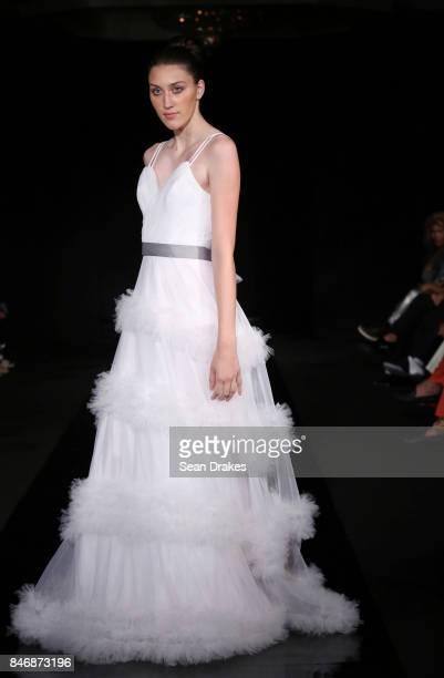 A model wears a dress design by Angie Polanco of the Dominican Republic in the Fashion Designers of Latin America collection shows during New York...