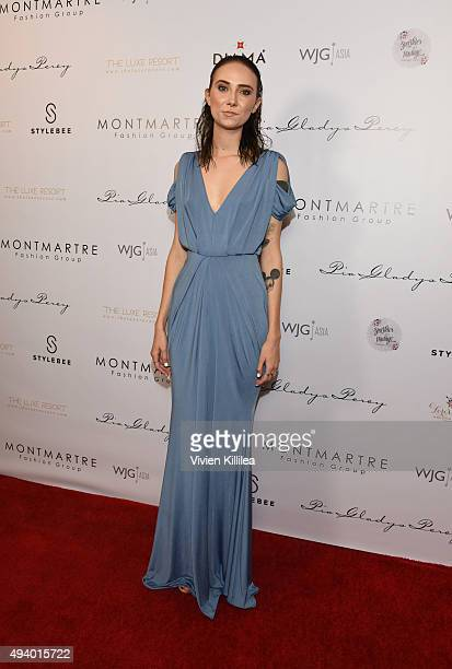 A model wears a gown by Pia Gladys Perey at the Pia Gladys Perey Spring/Summer 2016 Fashion Show at Sofitel Hotel on October 23 2015 in Los Angeles...