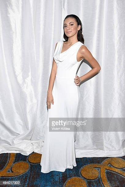 A model wears a gown by Pia Gladys Perey backstage at the Pia Gladys Perey Spring/Summer 2016 Fashion Show at Sofitel Hotel on October 23 2015 in Los...