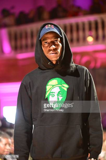 A model wears a hooded sweatshirt by 2Heads by Atsu at the District of Fashion Fall/Winter 2019 Runway Show on February 07 2019 at the National...