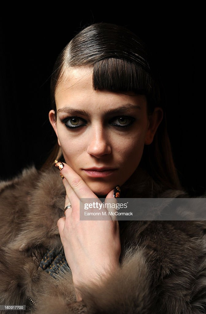 A model wears a nail design created by CND for Michael van der Ham at London Fashion Week Autumn/Winter 2013, BFC Courtyard Showspace on February 18, 2013 in London, England.