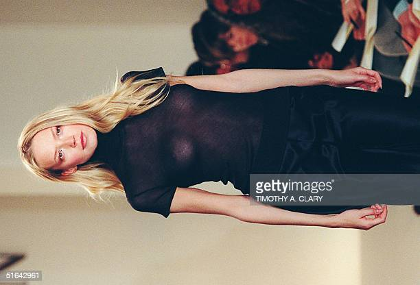 A model wears a sheer top with a silk skirt during the Ralph Lauren 1998 Spring/Summer fashion collection 05 November in New York This week over 40...