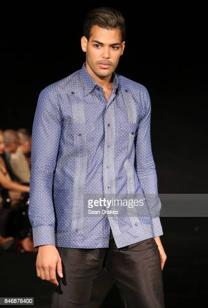 A model wears a shirt designed by Chacabanas Republic in the Fashion Designers of Latin America collection shows during New York Fashion Week at...