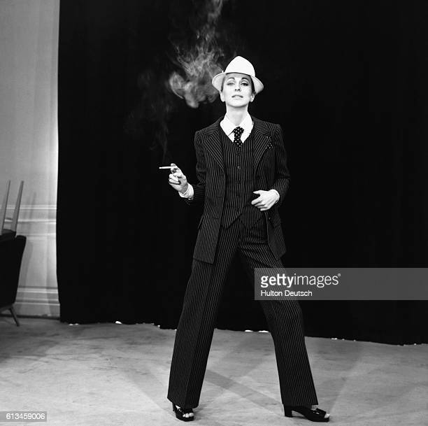 A model wears a threepiece suit designed by Yves Saint Laurent France 1967