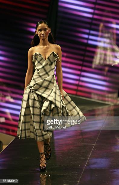 A model wears a Vivienne Westwood design on the runway at this years inaugural Edinburgh International Fashion Festival April 26 2006 in Edinburgh...