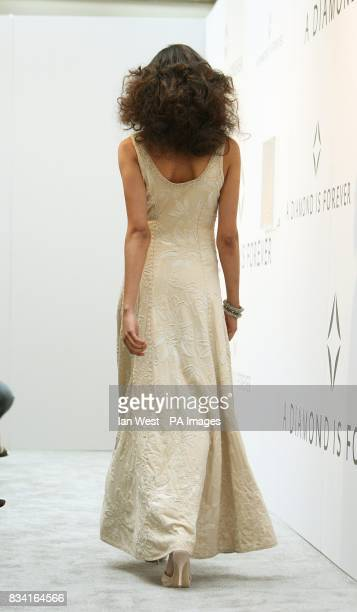 A model wears Alabama Chanin dress with Munnu jewelry at the Tribute To Diamonds and Fashion on the Red Carpet fashion show in celebration of the...