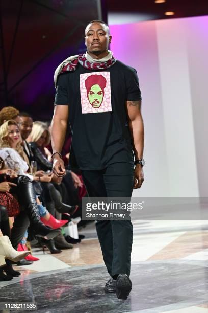 A model wears an ensemble by 2Heads by Atsu at the District of Fashion Fall/Winter 2019 Runway Show on February 07 2019 at the National Museum of...