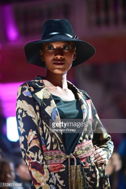 A model wears an ensemble from the Peruvian Connection at the District of Fashion Fall/Winter 2019 Runway Show on February 07 2019 at the National...