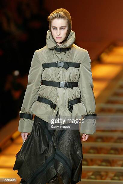 Model wears an outfit created by Jean-Paul Gaultier during their Fall/Winter 2004 ready-to-wear collection March 8, 2003 in Paris.