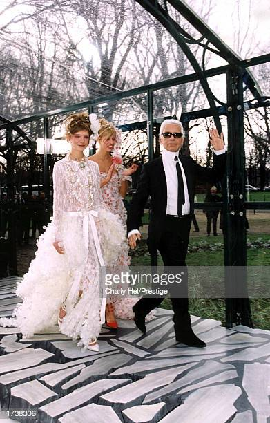 A model wears an outfit created by Karl Lagerfeld for French fashion house Chanel during their Spring/Summer 2003 high fashion collection January 21...