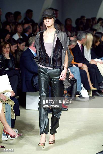 A model wears an outfit created by Narciso Rodriguez for Spanish fashion house Loewe during their Fall/Winter 2004 readytowear collection March 7...