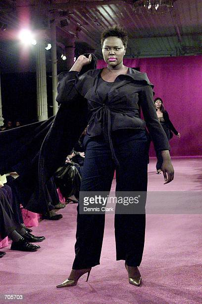 A model wears an outfit from the Sizeappeal By Lori Fall/Winter 2002 collection March 6 2002 during the Curve Style Fashion Show in New York City