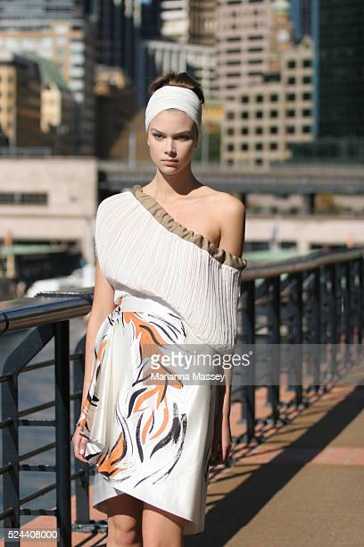 A model wears an outfit from the Spring/Summer 2008/2009 collection by designer Jayson Brunsdon at the Rosemount Australian Fashion Week at the...