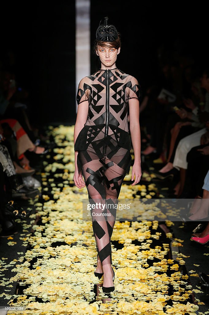 Model wears Black Coffee 2013 at the Black Coffee 2013 show on day one of South Africa Fashion Week on April 11, 2013 in Johannesburg, South Africa.