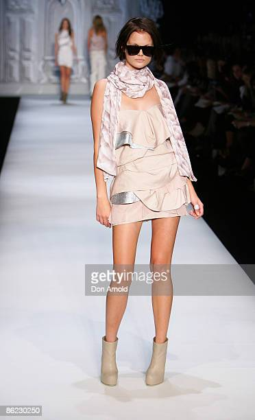 Model wears Camilla and Marc designs walk the catwalk at the Overseas Passenger Terminal, Circular Quay on day one of Rosemount Australian Fashion...