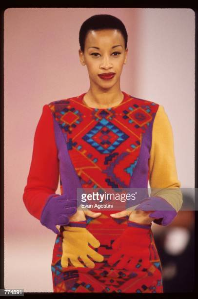 A model wears clothing made from EcoSpun recycled fabrics during the Designs of the Future by Designers of the Future fashion show April 7 1995 in...