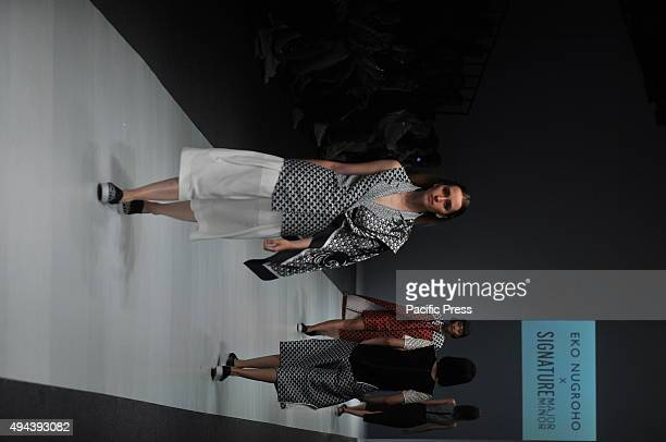 A model wears design of Eko Nugroho during the Jakarta Fashion Week 2016 at Senayan City The event was participated by 250 Indonesian and...