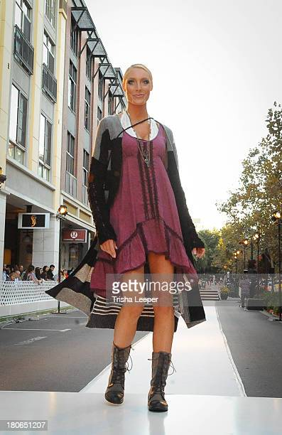 Model wears designs by Free People at the attends Santana Row Fall Fashion Show 2013 on September 14, 2013 in San Jose, California.