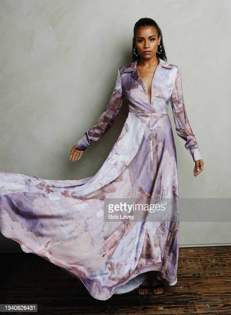 Model wears designs by Negris LeBrum SS22 for NYFW on September 15, 2021 in Houston, Texas.