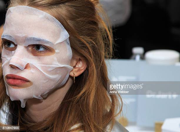 A model wears Dr Jart skincare during Dr Jart for DKNY Fall/Winter 2016 Show at Skylight Modern on February 17 2016 in New York City
