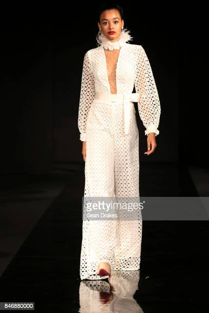 A model wears dress design by Miriam Rodriguez of Venezuela in the Fashion Designers of Latin America collection shows during New York Fashion Week...