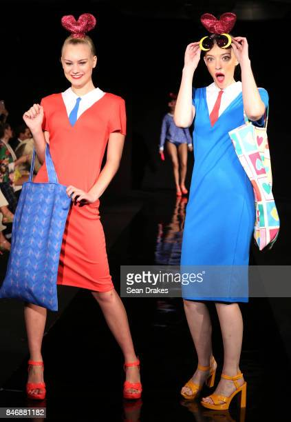 A model wears fashion designs by Agatha Ruiz De La Prada of Spain in the Fashion Designers of Latin America collection shows during New York Fashion...