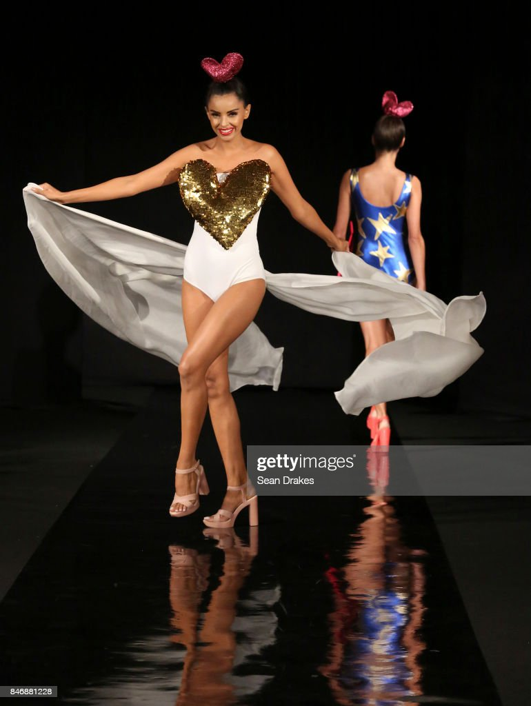 A model wears fashion designs by Agatha Ruiz De La Prada of Spain in the Fashion Designers of Latin America collection shows during New York Fashion Week at Skyline Hotel on September 13, 2017 in New York City.