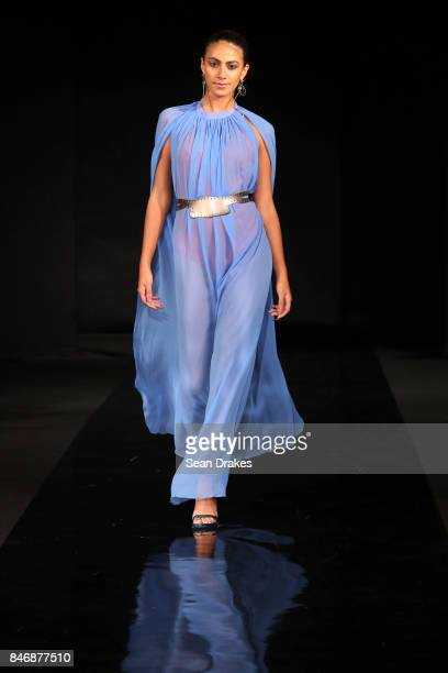 A model wears fashion designs by Carlton Jones and leather accessories by Roberto Calasanz in the Fashion Designers of Latin America collection shows...