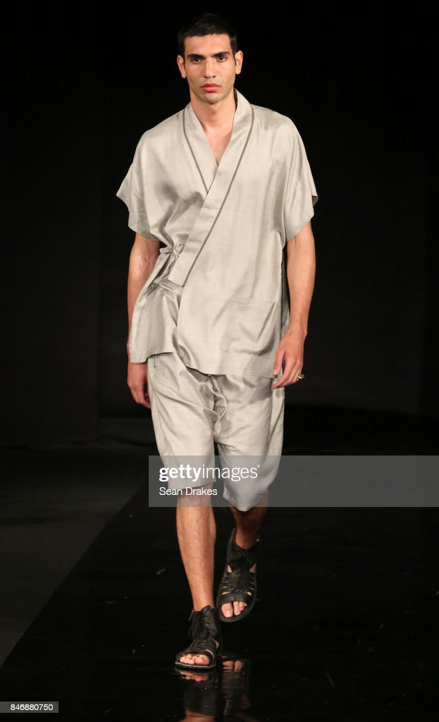A model wears fashion designs by Carlton Jones in the Fashion Designers of Latin America collection shows during New York Fashion Week at Skyline Hotel on September 13, 2017 in New York City.