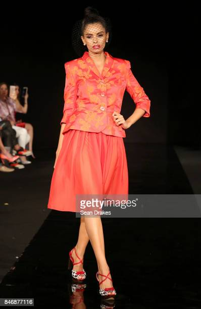 A model wears fashion designs by Francisco Saez of Spain in the Fashion Designers of Latin America collection shows during New York Fashion Week at...