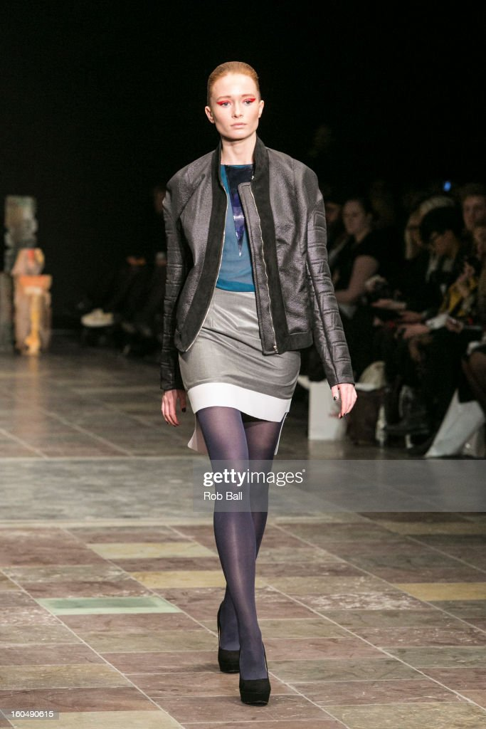 A model wears fashions by Danish designer Stine Riis during Day 3 of Copenhagen Fashion Week on February 1, 2013 in Copenhagen, Denmark.
