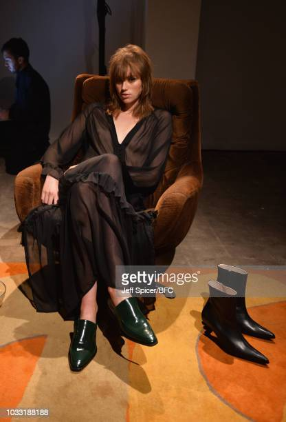 model wears shoes by Kalda at the DiscoveryLAB during London Fashion Week September 2018 at BFC Designer Showrooms on September 14 2018 in London...