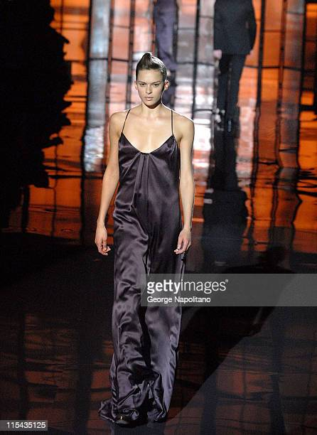 Model wears the BOSS Black Spring/Summer 2008 Ready-to-Wear Runway Collection at the Cunard Building in Manhattan's Financial District on October 17,...