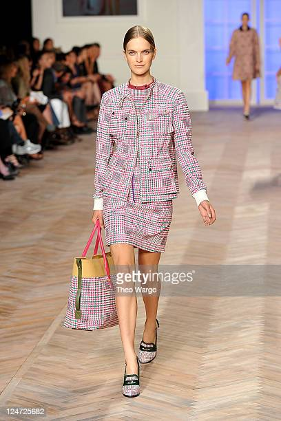 Model wears Tommy Hilfiger Spring 2012 Women's Collection on the runway at The Theater at Lincoln Center on September 11, 2011 in New York City.