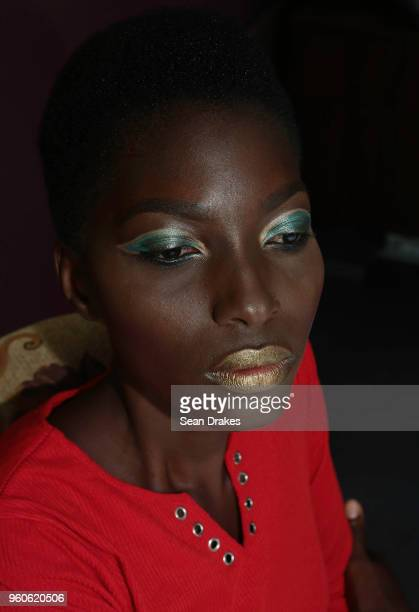 Model Whitanya Coleman displays makeup styling with Gabriella Cosmetics during the Urban Development Corporation City Style fashion collections as...