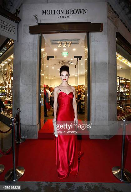 Model who stars in the Molten Brown Christmas campaign helps to re-create 'The Molton Brown Splendid Christmas' Party' at the flagship store on...
