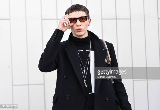 Model Willow Barrett is seen outside the Coach show during New York Fashion Week Women's A/W 2018 on February 13 2018 in New York City