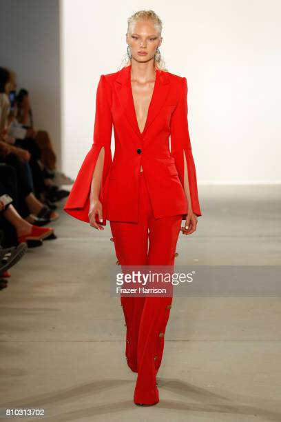 Model Wilma Sjoeberg walks the runway at the Prabal Gurung show during the MercedesBenz Fashion Week Berlin Spring/Summer 2018 at Kaufhaus Jandorf on...