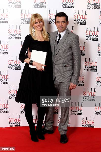 Model winner Claudia Schiffer and Roland Mouret in the Winner's room at the ELLE Style Awards 2010 at the Grand Connaught Rooms on February 22, 2010...
