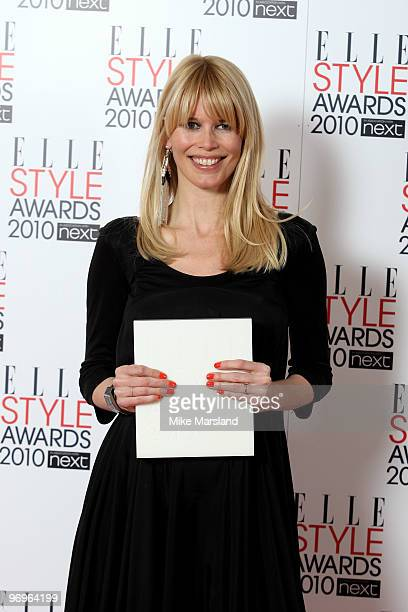 Model winner Claudia Schiffer in the Winner's room at the ELLE Style Awards 2010 at the Grand Connaught Rooms on February 22, 2010 in London, England.