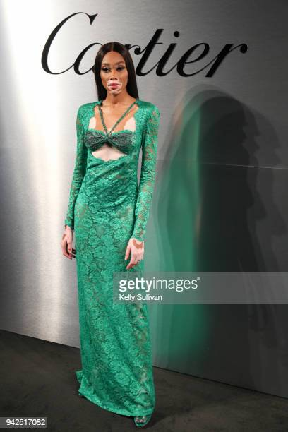 Model Winnie Harlow arrives on the red carpet for the Santos de Cartier Watch Launch at Pier 48 on April 5 2018 in San Francisco California